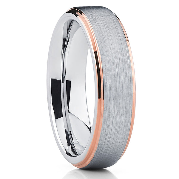 Rose Gold Edges Silver Tungsten Ring Comfort Fit