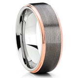 Rose Gold Tungsten Ring - Gray Tungsten Ring - Gunmetal - Tungsten Band - Clean Casting Jewelry