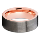 Rose Gold Tungsten Ring - Gray Tungsten Band - Rose Gold Tungsten - Brush - Clean Casting Jewelry
