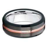 Rose Gold Gray Ring,Tungsten Ring,Silver Inside,Comfort Fit
