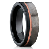 Rose Gold Tungsten Wedding Band - Gunmetal - Tungsten Wedding Ring - Brush