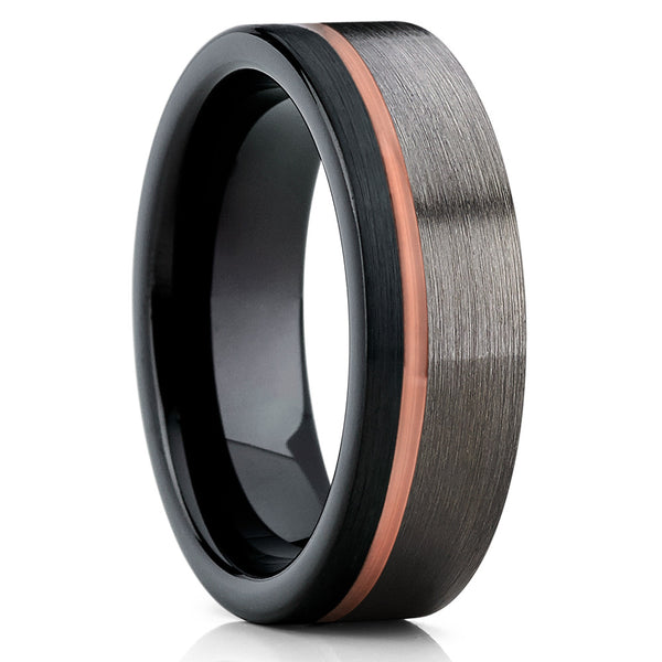 Rose Gold Tungsten Wedding Band - Gunmetal - Tungsten Wedding Ring - Brush - Clean Casting Jewelry