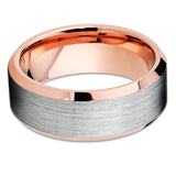 Rose Gold Tungsten Ring - Silver Brush - Rose Gold Tungsten Ring - 8mm Ring