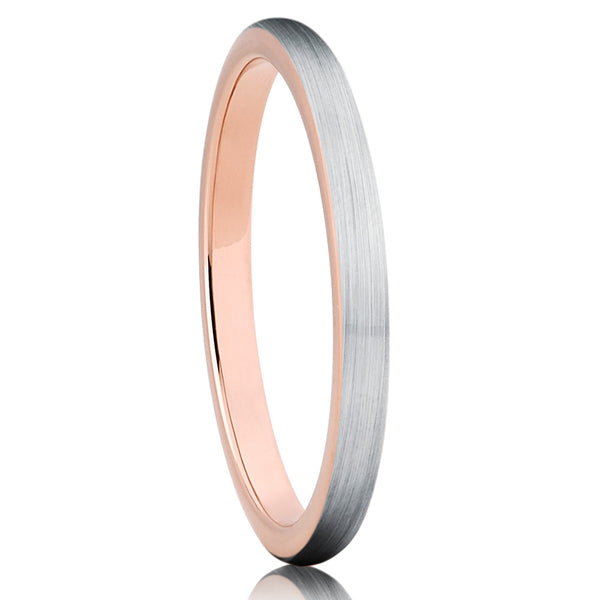 2mm,Rose Gold Tungsten,Tungsten Ring,Ladies Tungsten Band,Brushed Finish,Unique
