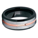 Black Tungsten Ring - Rose Gold Tungsten Ring - Rose Gold Tungsten - Clean Casting Jewelry