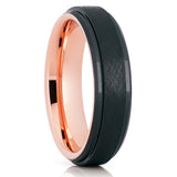 Black Tungsten Wedding Band - Rose Gold Tungsten Ring - Brushed - Beveled - Clean Casting Jewelry