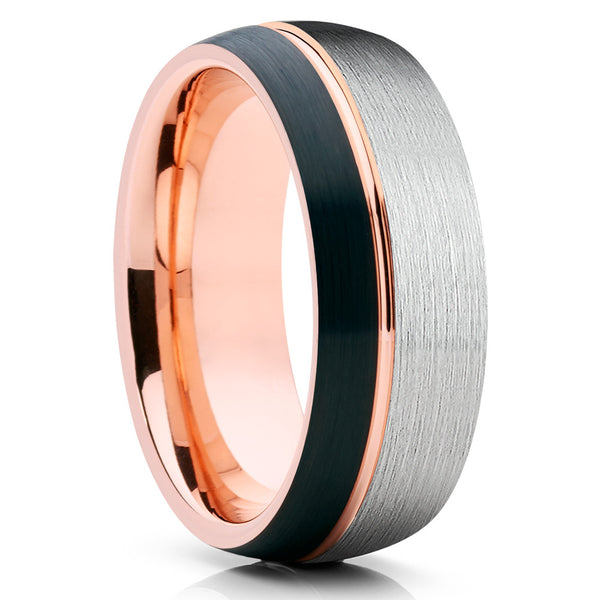 Rose Gold Tungsten Wedding Band - Black Tungsten - Rose Gold Ring - Brush - Clean Casting Jewelry