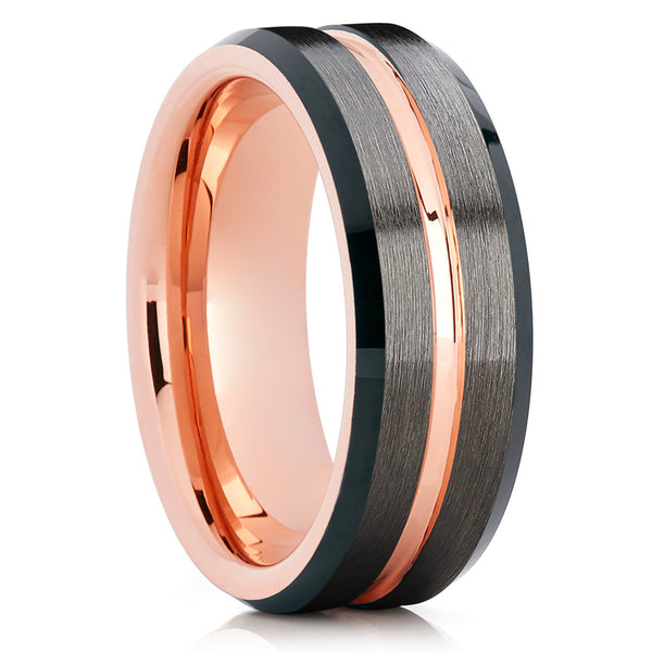 Tungsten Wedding Band - Rose Gold - Tungsten Wedding Ring - Black - Clean Casting Jewelry