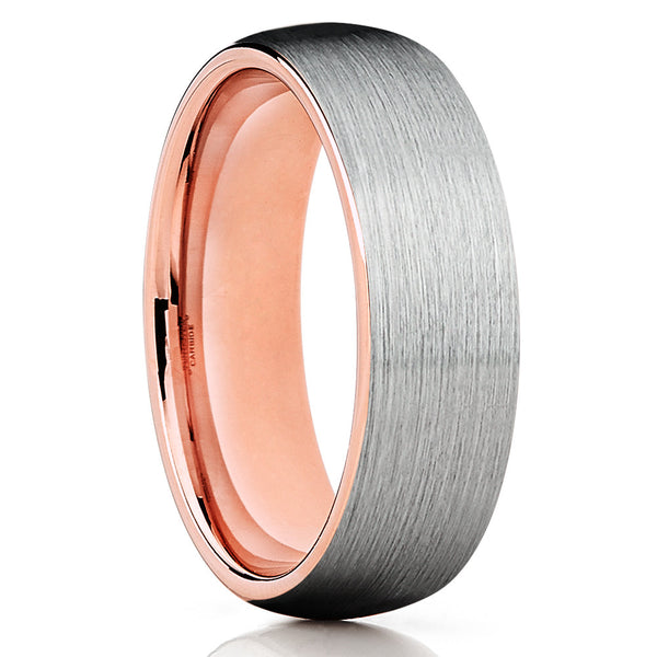 Brushed Tungsten Ring,Rose Gold Tungsten,Tungsten Wedding Band,Dome Ring