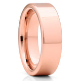 6mm - Rose Gold Tungsten Wedding Band - Shiny Polish - Tungsten Carbide - Clean Casting Jewelry