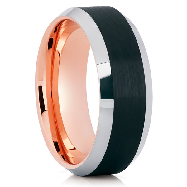 Rose Gold Tungsten Wedding Band - Beveled Edges - Black Tungsten Ring