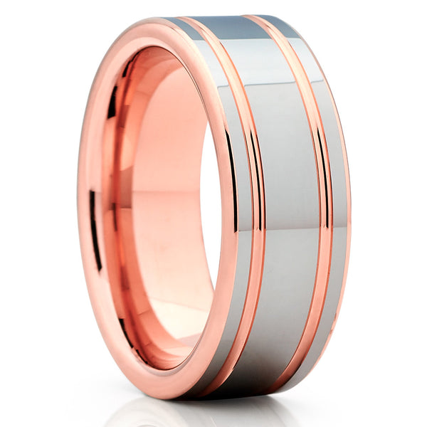 Shiny Polish,Rose Gold Tungsten,Double Groove,Tungsten Carbide,Handmade Ring
