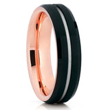 Rose Gold Tungsten Wedding Band - Black Tungsten - Tungsten Wedding Ring
