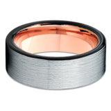 Silver Tungsten Wedding Band - Rose Gold Tungsten Ring - Black Tungsten - Clean Casting Jewelry
