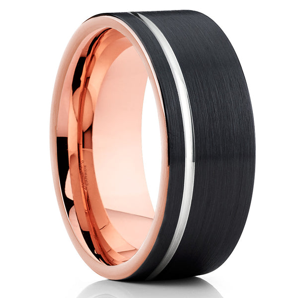 Silver Groove Rose Gold Tungsten Comfort Fit Ring