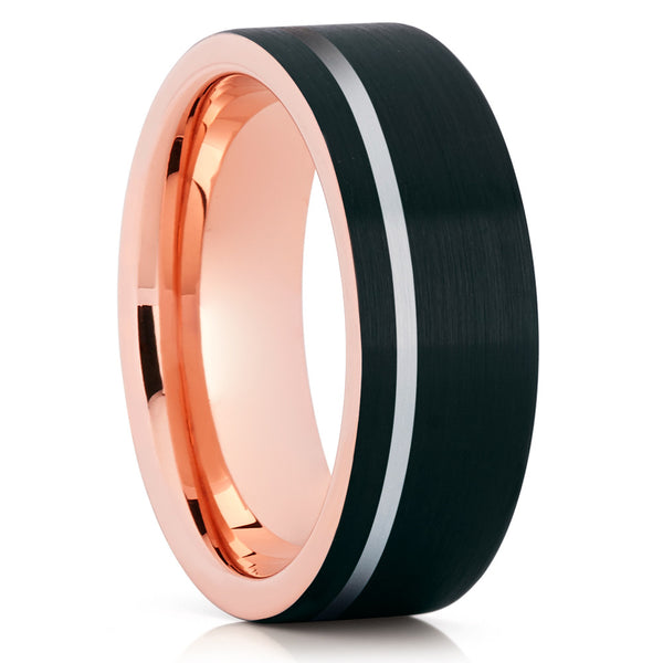 Black Tungsten Wedding Band - Rose Gold Tungsten - Tungsten Carbide - Brush - Clean Casting Jewelry