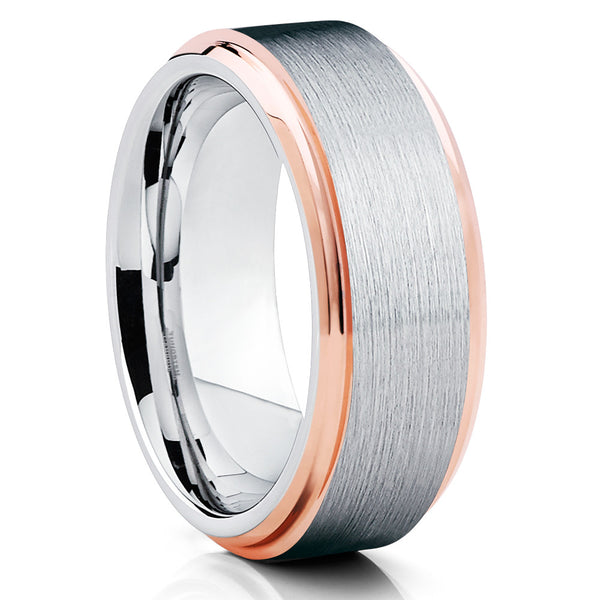 Rose Gold Tungsten Ring - Men's Tungsten Ring - Rose Gold Tungsten Band - Clean Casting Jewelry