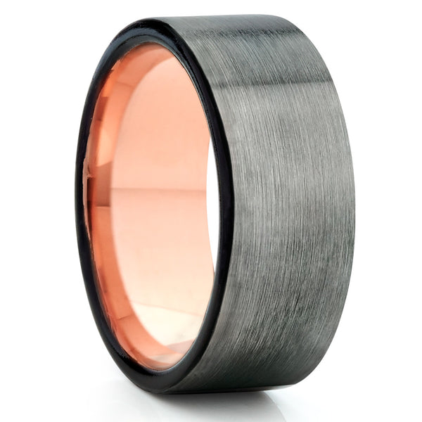 Gray Tungsten Wedding Band - Rose Gold Tungsten - Black - Men's Ring - Clean Casting Jewelry