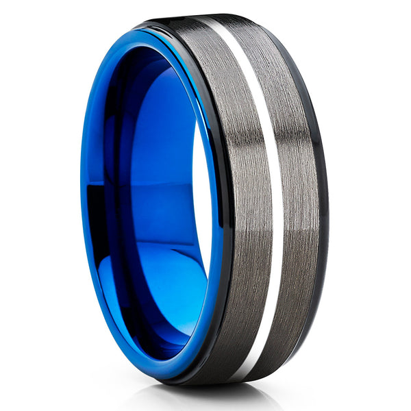 Blue Tungsten Wedding Band - Gunmetal Ring - Blue Tungsten Band  - 8mm - Clean Casting Jewelry