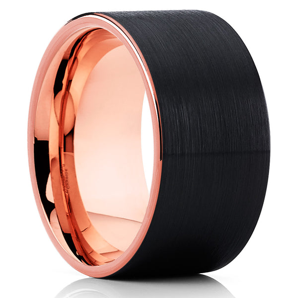 12mm - Rose Gold Tungsten Wedding Band - Rose Gold Ring - Black Ring