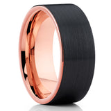 Rose Gold Tungsten Ring,Tungsten Carbide,Wedding Band,Black Tungsten Ring,Brushed