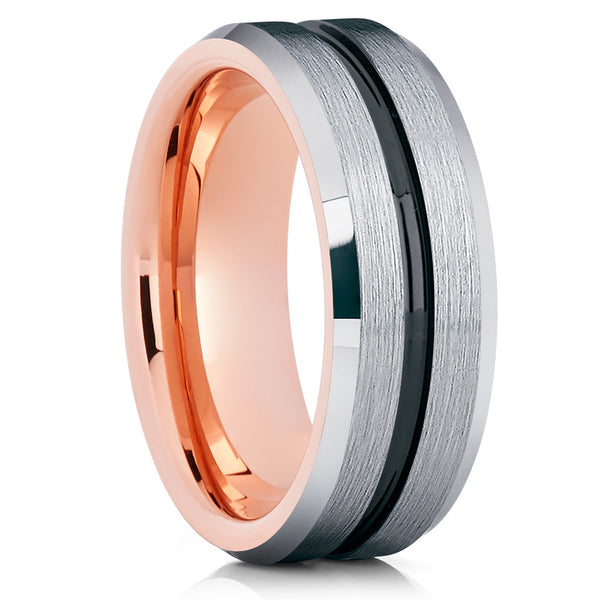 8mm,Rose Gold Tungsten Wedding Band,Black Groove Center,Comfort Fit Ring