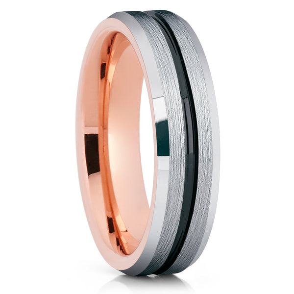 6mm - Rose Gold Tungsten Ring - Black Groove - Black Tungsten - Brush - Clean Casting Jewelry
