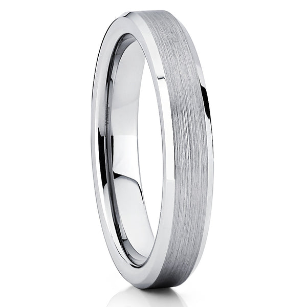 4mm Tungsten Wedding Band - Silver Brushed - Tungsten Wedding Ring Beveled - Clean Casting Jewelry