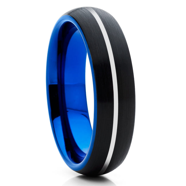 6mm,Silver Groove,Blue Tungsten Ring,Brushed Tungsten Band,Dome Tungsten