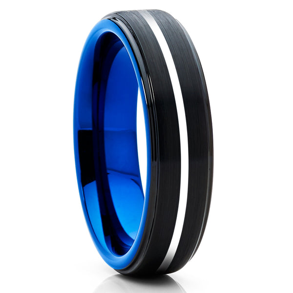6mm - Blue Tungsten Wedding Band - Blue Tungsten Ring - Black - Brush