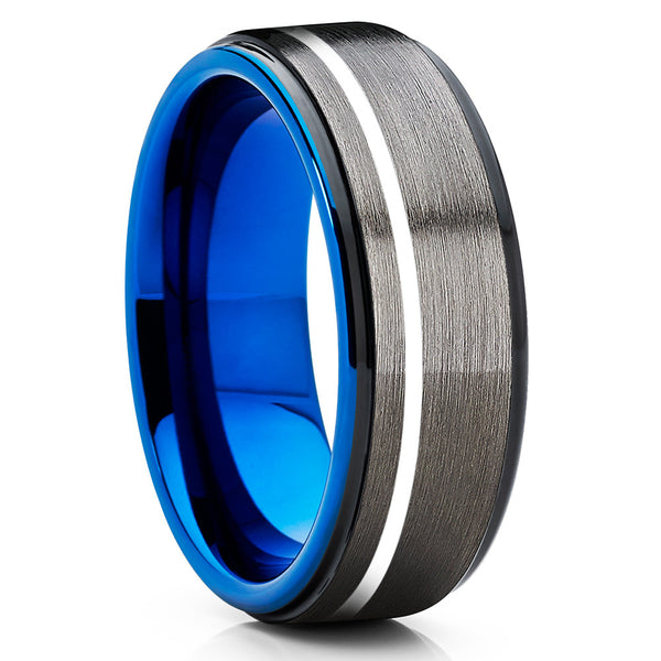 Blue Tungsten Wedding Ring - Gunmetal  - Black Tungsten Ring - Black Ring - Clean Casting Jewelry