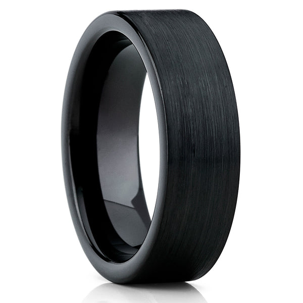 7mm,Black Tungsten Ring,Brushed Finish,Wedding Band,Tungsten Carbide,Classic Ring