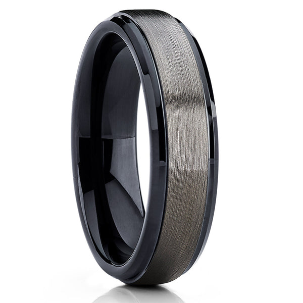 6mm Gray Tungsten Wedding Band - Black Tungsten Ring - Gunmetal Band - Clean Casting Jewelry