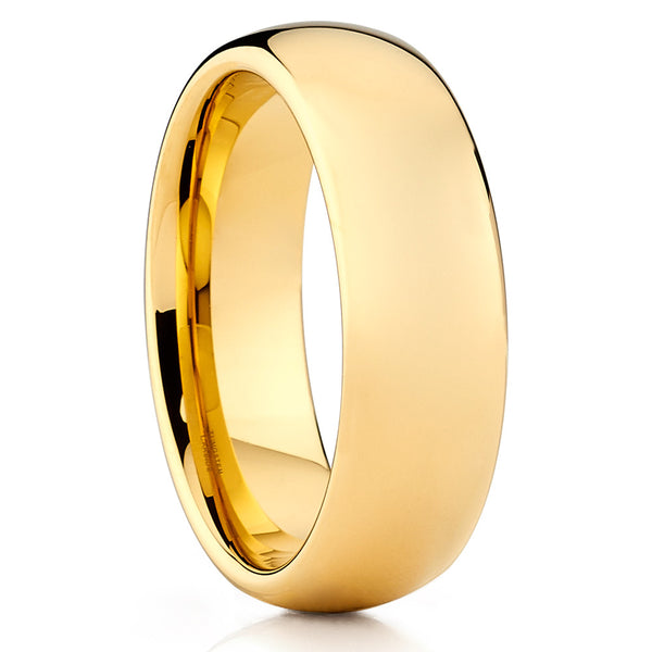 Yellow Gold Tungsten Ring - Tungsten Wedding Band - Dome Tungsten Ring - Clean Casting Jewelry