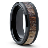 8mm,Deer Antler Ring,Tungsten Wedding Band,Deer Antler Band,Black Ring