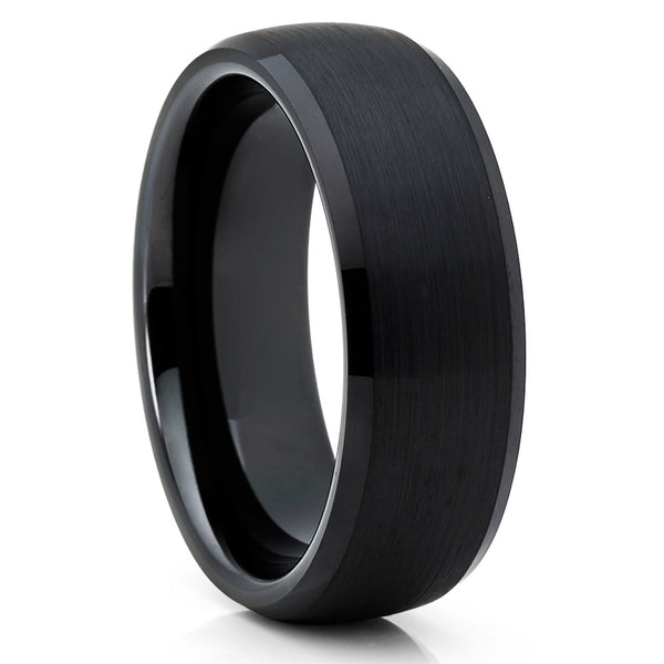 8mm - Black Brushed Tungsten Ring - Tungsten Wedding Band - Black Ring - Clean Casting Jewelry