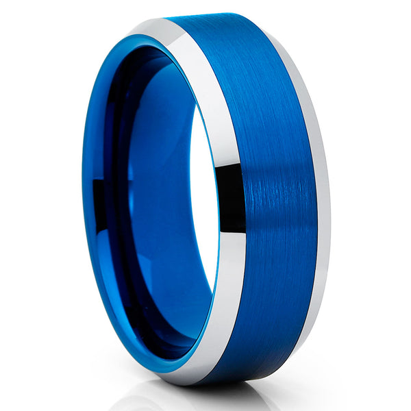 8mm,Blue Tungsten Ring,Brushed Blue Tungsten Band,Tungsten Carbide,Wedding Band