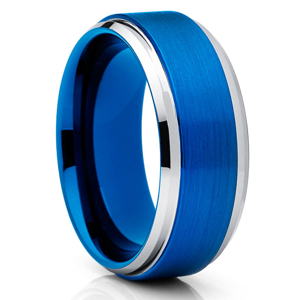 8mm - Blue Tungsten Ring - Men's Wedding Band - Blue Tungsten Band - Clean Casting Jewelry