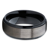Gunmetal Tungsten Wedding Band - Beveled Edges - Tungsten Wedding Ring