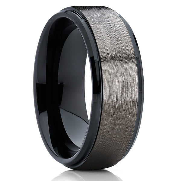 Black Tungsten Wedding Band - Gunmetal Ring - Men's Wedding Band - Brush