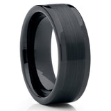 Men's Wedding Band - Black Tungsten Ring - Tungsten Carbide Ring - 8mm - Clean Casting Jewelry