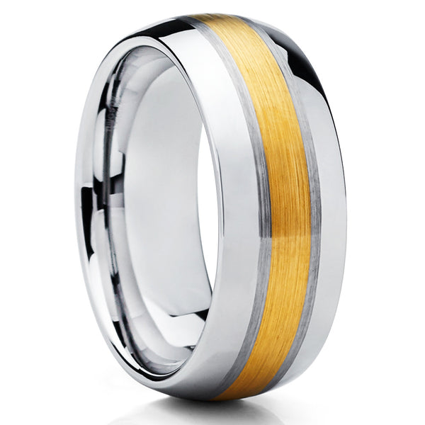 8mm,Yellow Gold Tungsten,Brushed Tungsten,Tungsten Carbide,Comfort Fit Ring