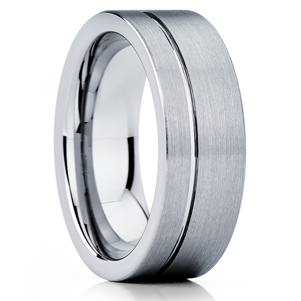 8mm,Silver Brushed Tungsten,Offset Groove,Tungsten Wedding Band,Brushed Finish