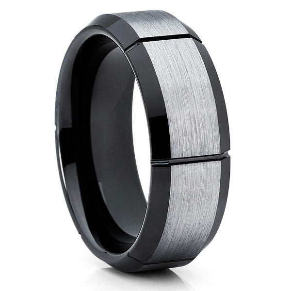 8mm,Black Tungsten Ring,Brushed Style,Silver Brush,Beveled Edges,Black Tungsten