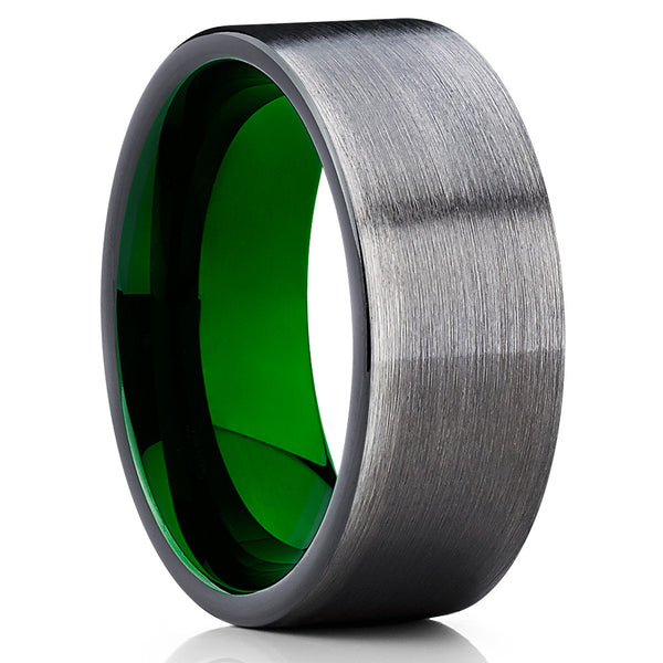 Green Tungsten Wedding Band - Gunmetal - Tungsten Wedding Ring Brush - Clean Casting Jewelry