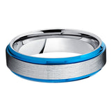 6mm - Blue Tungsten Ring - Tungsten Wedding Band - Tungsten Band -Brush - Clean Casting Jewelry