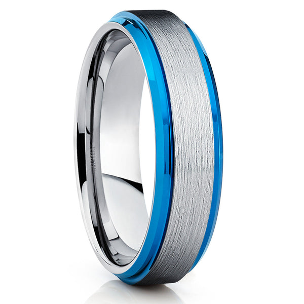 6mm Brushed Blue Tungsten Ring Silver Brushed Tungsten Comfort Fit Ring