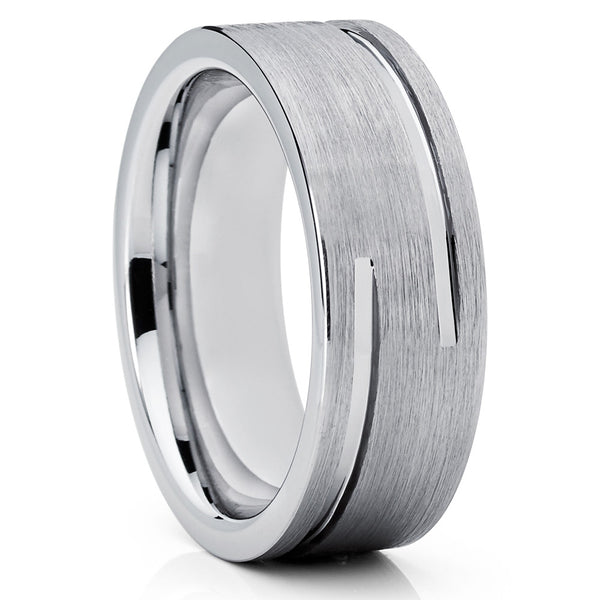 8mm,Silver Tungsten,Double Groove,Brushed Finish,Unique Tungsten,Wedding Band