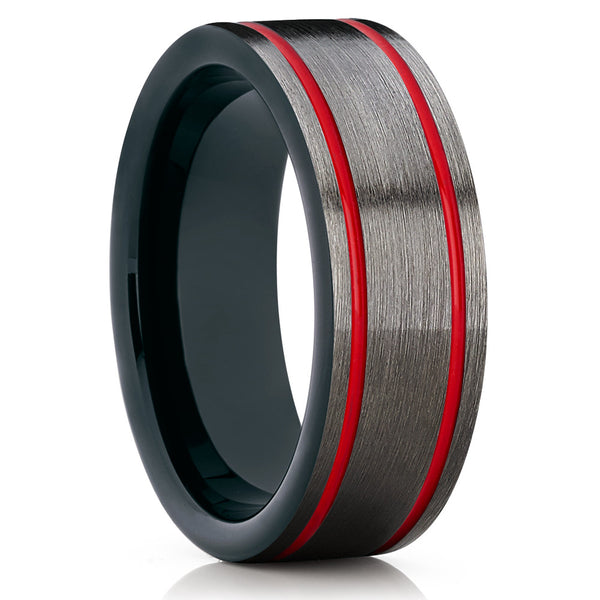 8mm,Red Tungsten Band,Gunmetal Tungsten Ring,Red Tungsten Band,Double Groove