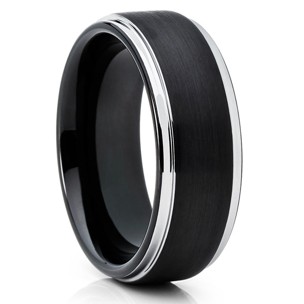 8mm - Black Tungsten Ring - Men's Wedding Band - Handmade - Black Ring - Clean Casting Jewelry